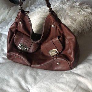 Soft 100% leather leopard lining hobo handbag